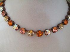 swarovski crystal necklace by sparklesandlove2 on Etsy, $60.00 beautiful fall colors