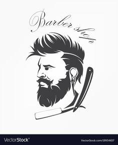 Vintage barber shop emblem label badge man with beard royalty-free vintage barber shop emblem Hair Salon Logos, Barber Shop Decor, Barbershop Design, Cute Boy Photo, Dulhan Mehndi Designs, Face Sketch, Fashion Collage, Art Logo, Easy Drawings
