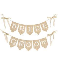 Bride/ Groom Burlap Pre-printed Banners , 2pcs.