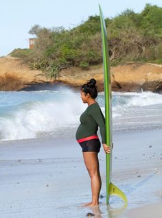 Margaret Yao Calvani at seven months pregnant. Photo courtesy of Kemi Vernon. Is it safe to surf while pregnant? That...