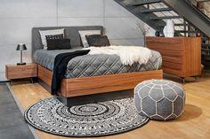 Modern wooden bed with grey accesories.  black and white carpet  BoConcept Trójmiasto  BoConcept Gdynia   #bctrojmiasto