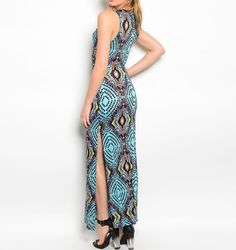 #Fashion #Maxi #Casual Print Stretch Jersey V-Neck Maxi Side Split Sleeveless Geo-Print Fashion Dress, A sexy colorful maxi jersey with a v-neck and side split fashion dress. Lady-like silhouette dramatic geo-print designed to flatter. Bold statement print feminine and modern party dress. Curve-hugging cocktail dress styled to be fun, flirty and sophisticated.