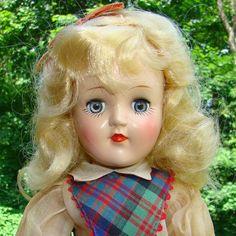 1949 Ideal Toni Doll P-90 Blond Plaid Jumper Dress Oil Cloth Shoes Original Box #Ideal #Dolls
