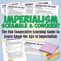 """This is a very fun cooperative learning simulation game to help your students understand the Age of Imperialism! Each group simulates a different country and must conquer """"territory"""" - which are items in your classroom. The only catch is that the rules are different for each group - just like how some countries like England could conquer so much territory, while others were unprepared for the land scramble."""