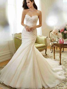 Wishesbridal Fashionable Sweetheart Organza Trumpet Mermaid Wedding Dress With Pleating