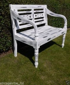 Superieur Details About Vintage Style Hand Painted Distressed White Garden Bench