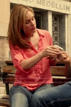 Annie's coral print roll sleeve shirt on Covert Affairs.  Outfit details: http://wornontv.net/17523/