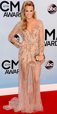 Carrie Underwood in sparkly nude Ralph & Russo Couture gown with sheer skirt at the 47th CMA Awards