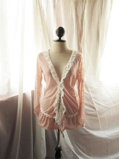 Creamy Peach Pink Rustic Cottage French Country Shabby Chic Victorian Frilly Girly Misty Dream Romantic Cardigan Top