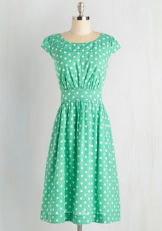 Day After Day Dress in Mint Dots by Emily and Fin - Mint, White, Polka Dots, Pleats, Daytime Party, Vintage Inspired, 50s, Cap Sleeves, Spring, Summer, Cotton, Woven, Long, Pockets, Work, Pastel, Bridesmaid, Fit & Flare, Top Rated