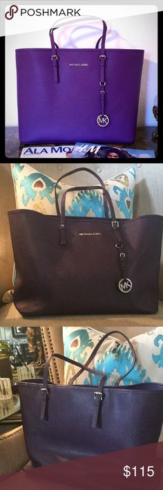 """GET THIS MICHAEL KORS BAG IN PURPLE! The actual bag being sold is in pics 2-4. The bag is clean inside and out.  On the front, one handle has a snap instead of the original buckle as it was repaired (see pic4).  On the back is a small tear on the top left trim (see pic 3).  Other than that, this bag is in great condition.  It is a dark purple/grape color. A very nice bag.  Lots of room.  17"""" w by 11"""" l at widest point.  Strap extends 9"""". Michael Kors Bags"""