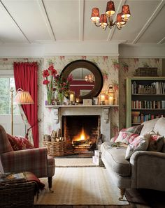 New Home Story: Ambleside Collection | Laura Ashley Blog | Wisteria Cranberry Floral Wallpaper | Williams Check Upholstery Fabric
