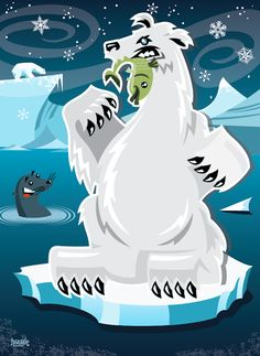 Polar Bear vector illustration designed by Paul Howalt for Kono magazine's endangered species series. #TactixCreative #polarbear #graphicdesign