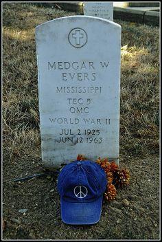 Medgar Evers, Assassinated Civil Rights Hero (The Peace Hat).  Arlington National Cemetery, Arlington, Virginia.