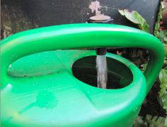 Regenwater gebruiken om de plantjes na aanplant een goede start te geven.l