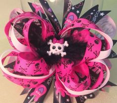 $8.50 Pink Skulls!! Stacked Boutique hair bow. Clip or Headband!