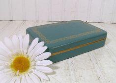 Hard-Shell Turquoise Travel Farrington Jewelry Case - Vintage Atomic Gold Design - Rose Pink Satin and Velvet Lining