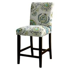 Junoon Gray/Espresso Leg Patterned bar stool- comes in a bunch of patterns- for the kitchen