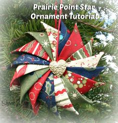 """Make your own beautiful Prairie Point Star Ornament from pre-cut 5"""" charm squares or fabric scraps from your stash. These ornaments are quick and easy to m"""