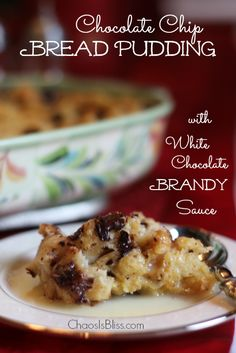 Impress your holiday guests with this easy Chocolate Chip Bread Pudding recipe, topped with a White Chocolate Bourbon Sauce.