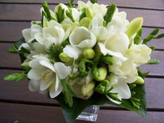 The very fragrant freesia is generally used in bouquets and not so much in floral arrangements and centerpieces.    Symbolic meaning: All white freesias stand for innocence    Seasonal availability: Freesias generally bloom in spring and continue to be available through the summer.    How affordable: When they are in season, freesias are inexpensive.