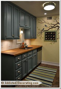 """Single Upper Kitchen Cabinet before & after: """"single wide"""" kitchen opens up 