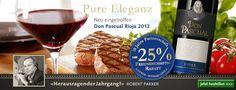 """Höchste Klassierung und 25% auf den neuen Don Pascual Rioja 2012 Der weltweit bedeutendste Weinkritiker Robert Parker hat den Jahrgang 2012 im Weingebiet Rioja als """"herausragenden Jahrgang"""" auszeichnet! Zur Zeit gibt es diesen Klassewein mit 25% Freundschaftsrabatt für nur 12.60 statt CHF 16.80. >>> http://www.schuler.ch/rioja_ch1"""