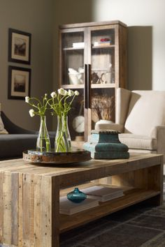 An elegant wood coffee table with extra room underneath for all your storage needs