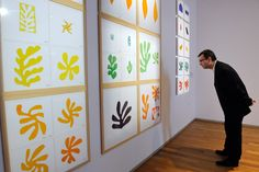 A man looks at gouache painted papers cut by French painter Henri Matisse displayed at the Cateau-Cambresis museum on March 8, 2013. The exhibition, devoted to the exceptional donation by Matisse's family of 443 elements of cut papers painted with gouache, which were not used by Henri Matisse.