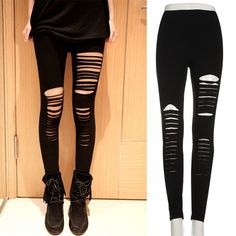 Women Lady Punk Hole Ripped Slit Split Leggings Party Gothic Pants Hot Selling