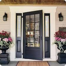 Love the planters that match the doors. Love the doors with the the panels on each side. The Doors, Entry Doors, Front Entry, Front Stoop, Door Entryway, Room Doors, Patio Doors, Sliding Doors, Home Staging