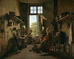 "Martin Drölling, ""L'intérieur d'une cuisine"" (1815), believed to have been painted with Mummy Brown (via the Louvre)"