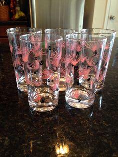 5 Vintage Pink Black Drinking Glasses 1950s Kitchen Tumblers Mid Century Modern