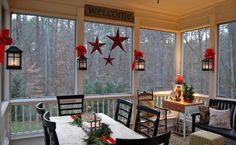 Cute idea-  hard to decorate without much wall space. This makes the most of that! screened porch decor | Imparting Grace: Christmas on the porch