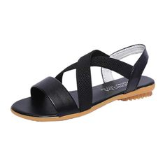 0149b4c7e SUKEQ Women s Open Toe Fashion Crisscross Elastic Flat Sandals Ankle Strap  Summer Design Thong Sandals  gt