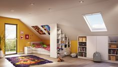 Das farbenfrohe Kinderzimmer wurde mit perfekt passenden Maßmöbeln von deinSchrank.de ausgestattet. Dank ihrer Schrägen passen die Regale und Schränke exakt in den Raum und bieten genügend Platz für Spiele, Bücher und Schulsachen.
