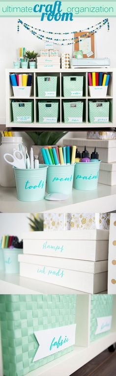 Cute refreshing craft space. Love the mint.