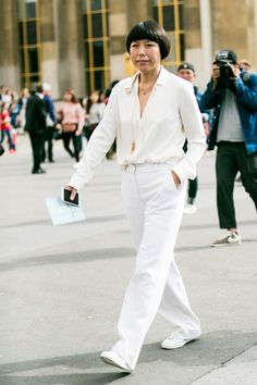 All white - pant suit & white blouse - Paris Haute Couture 2016/17 gallery – Sandra Semburg