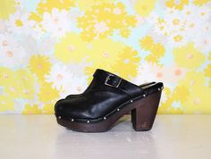 vintage 90's black leather platform clogs women's size 10 four inch heel by foxandfawns, $45.00