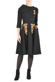 I <3 this Vintage embellished twill dress from eShakti