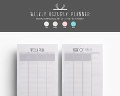 This Hourly Weekly Planner Printable has it all - space to write daily goals, meals, or exercise; prefilled hours so you can have a proper overview of your day; a dedicated section to track to-dos and even space to take notes. Weekly Hourly Planner, Weekly Planner Printable, Mouse Crafts, Websters Pages, Daily Goals, Grey And Beige, Planner Inserts, Happy Planner, A5