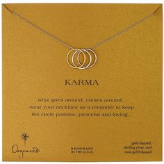 """Dogeared """"Karma"""" Yellow and Rose Gold-Plated Sterling Silver... ($70) ❤ liked on Polyvore featuring jewelry, necklaces, dogeared jewelry, yellow necklace, rose gold plated jewelry, sterling silver jewelry and triple necklace"""