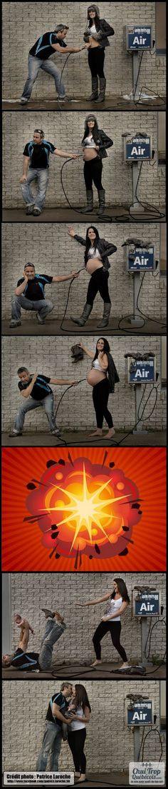 Extremely Clever Pregnancy Photo Series, haha, this is cute!