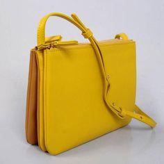 2013 Celine Trio calfskin shoulder bag gm 1999 yellow&earth yellow