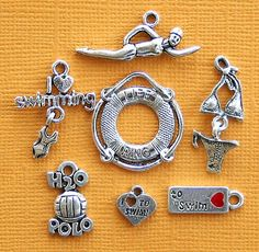 swimming-charm-collection-antique-silver