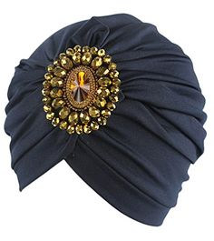 Fascigirl Turban Hat Womens Winter Warm Stretch Wool Beanie Hat with Rhinestone