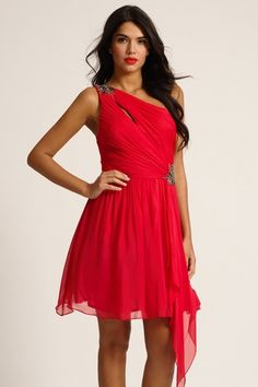 Watermelon Embellished Exposed One Shoulder Prom Dress