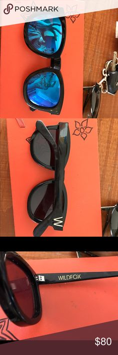 Wildfox blue mirrored sunglasses Lightly worn wildfox sunglasses!  Slight scratches on right lenses, but does not obstruct vision Wildfox Accessories Sunglasses