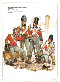The First Foot Guards, Adjutant, sergeant, private and drummer