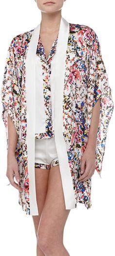Else Lingerie Botanical Garden Print Silk Kimono Robe on shopstyle.com